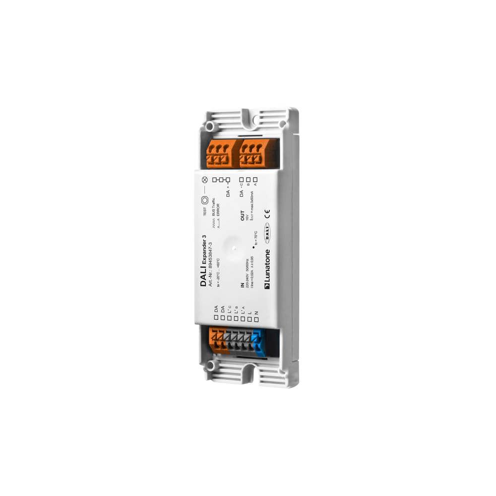 DALI input 3 addresses to 3 x DALI  Broadcast out, DALI PS 50mA each, 3x Sw&Dim  input