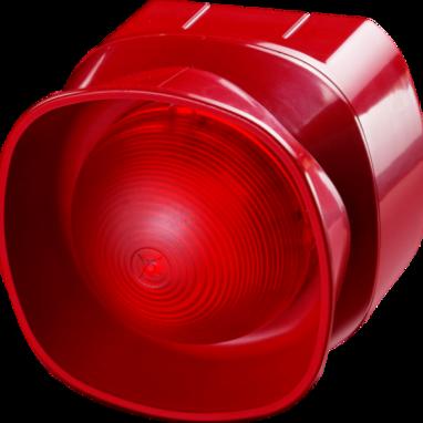 Meertonige open-area sirene flitser (optisch/akoest.), rood