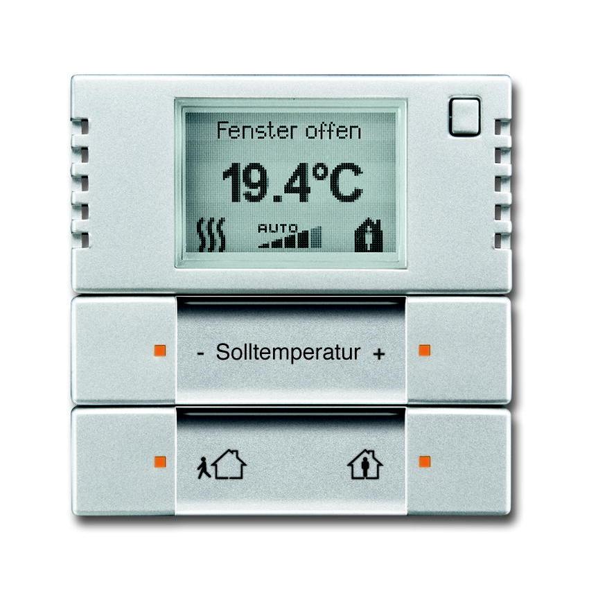 KNX Ruimtetemperatuurregelaar verwarming f-aluzilver.