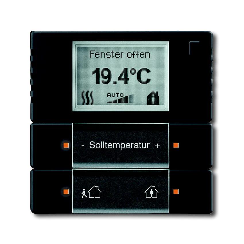 KNX Ruimtetemperatuurregelaar verwarming f-matzwart.