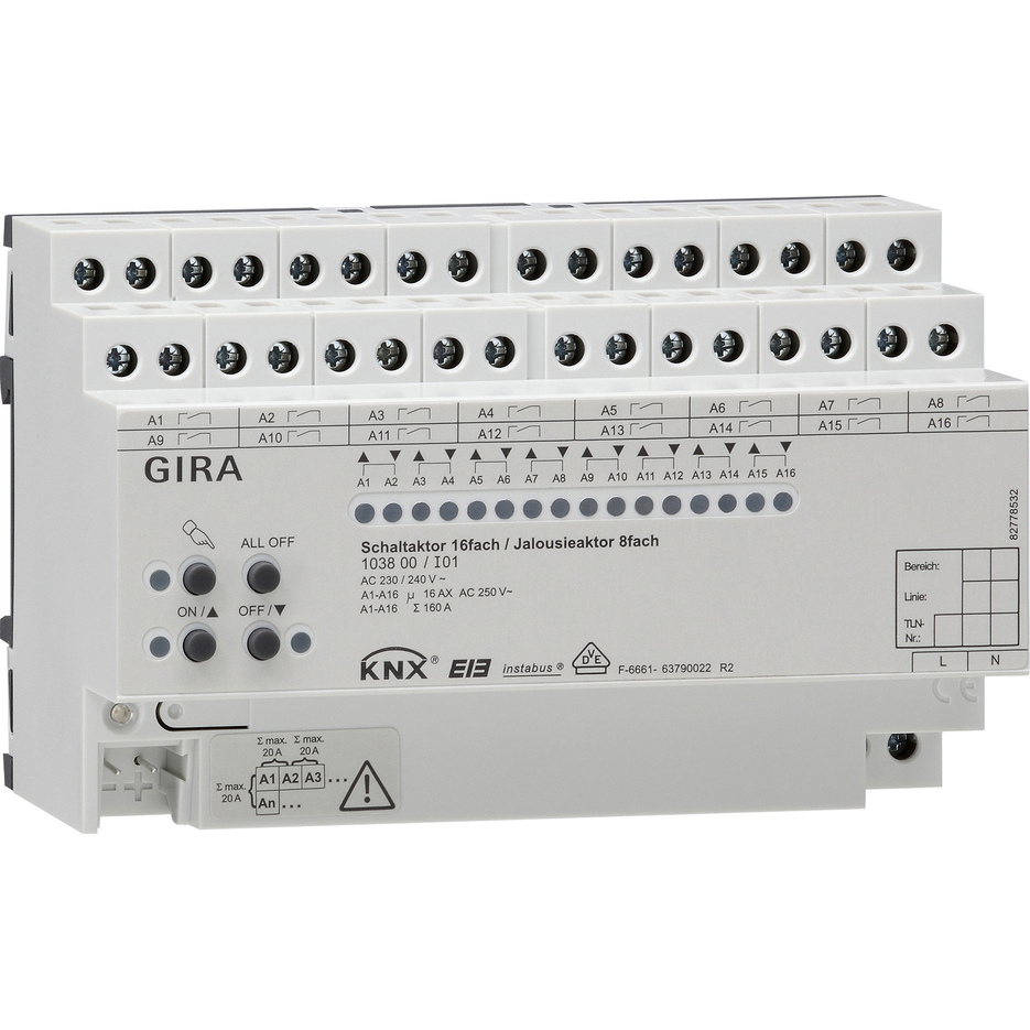 GIRA ACTOR S/J16/8V16A DRA KNX