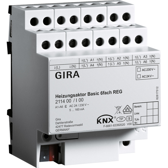GIRA VERWARMACTOR 6V DRA KNX