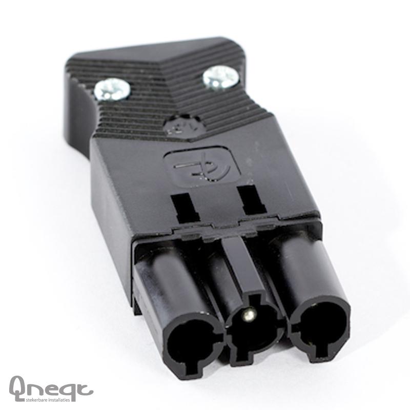 Qneqt steker 3-polig male plat zwart 1,5mm2