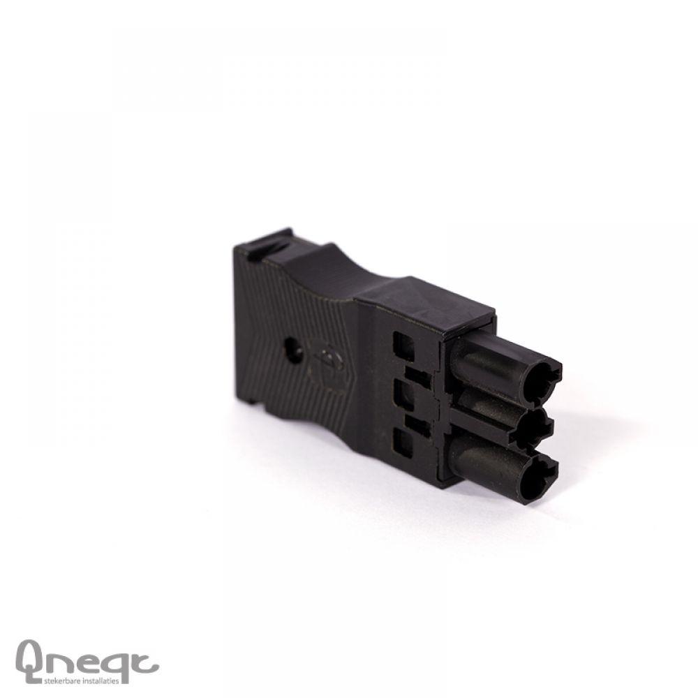 Qneqt veerklemsteker 3-polig male plat zwart