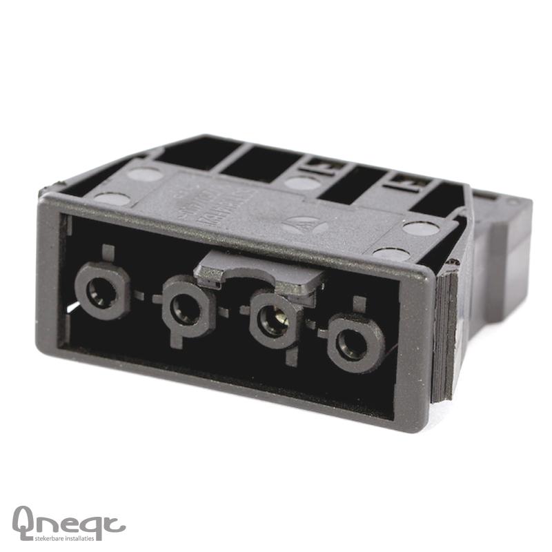 Qneqt chassisdeel 4-polig female zwart met vergr.