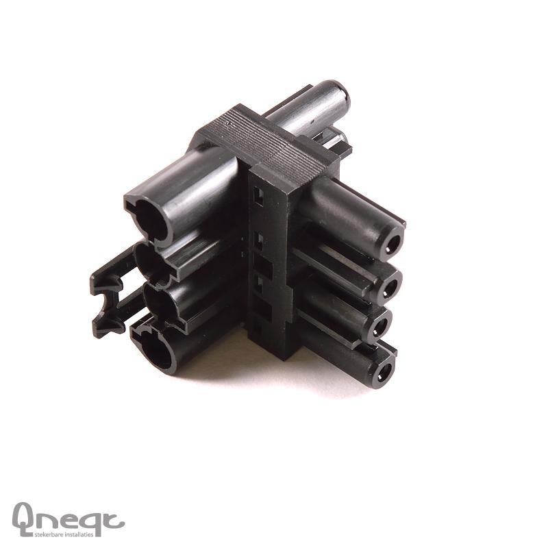 Qneqt 4-polige t-splitter zwart