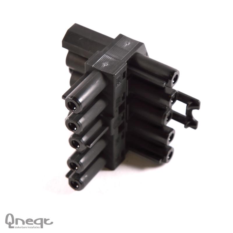 Qneqt 5-polige t-splitter zwart