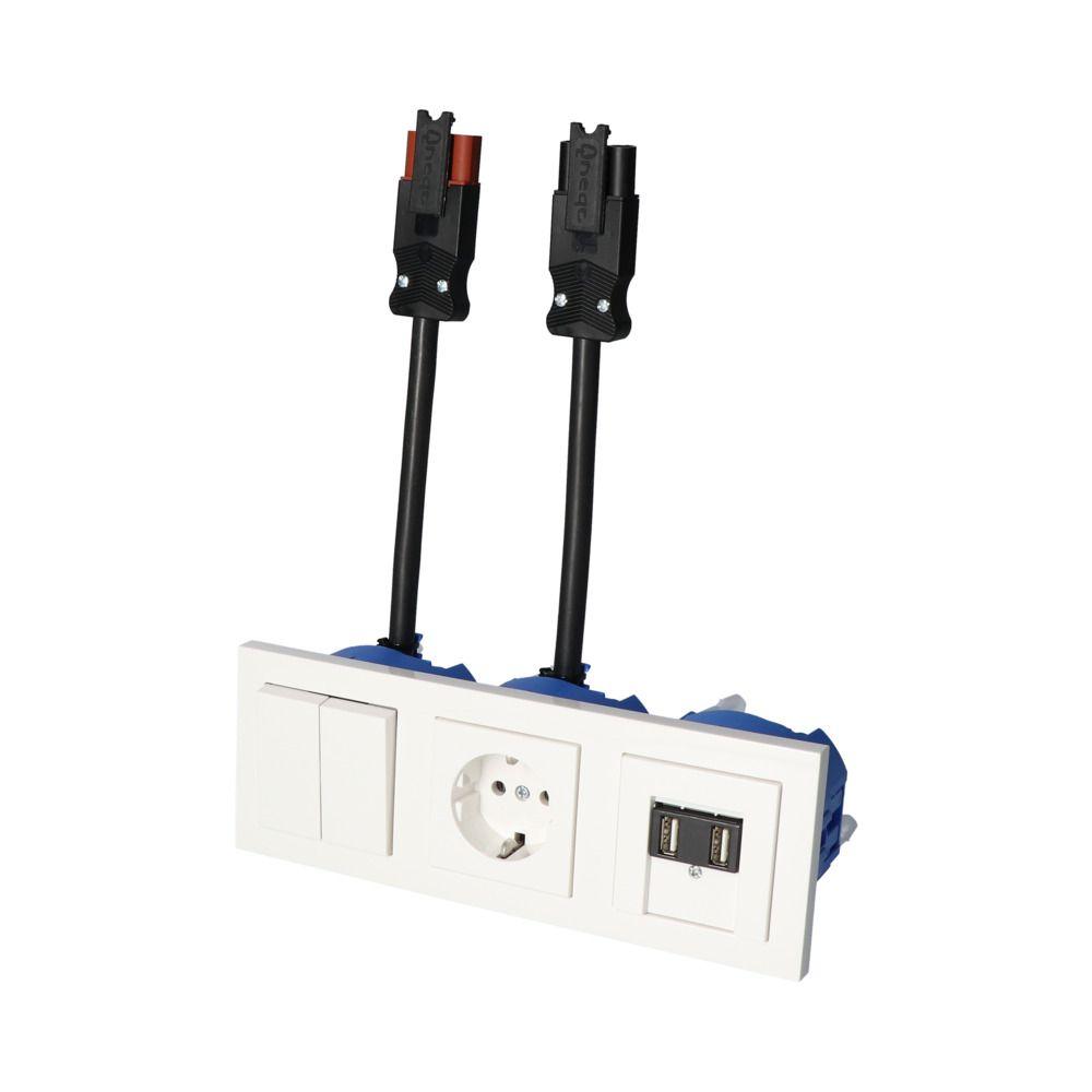 GIRA E2 Wit Glanzend – SERIE 1V WCD 2V USB
