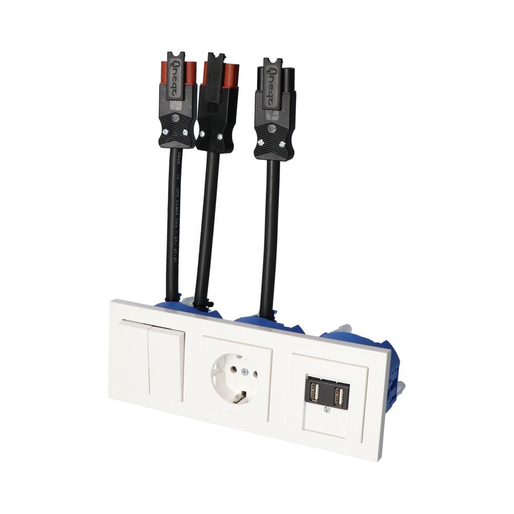 GIRA E2 Wit Glanzend – WSS-WSS 1V WCD 2V USB