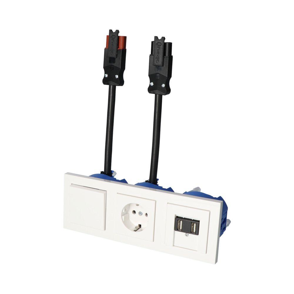 GIRA E2 Wit Glanzend – WSS 1V WCD 2V USB