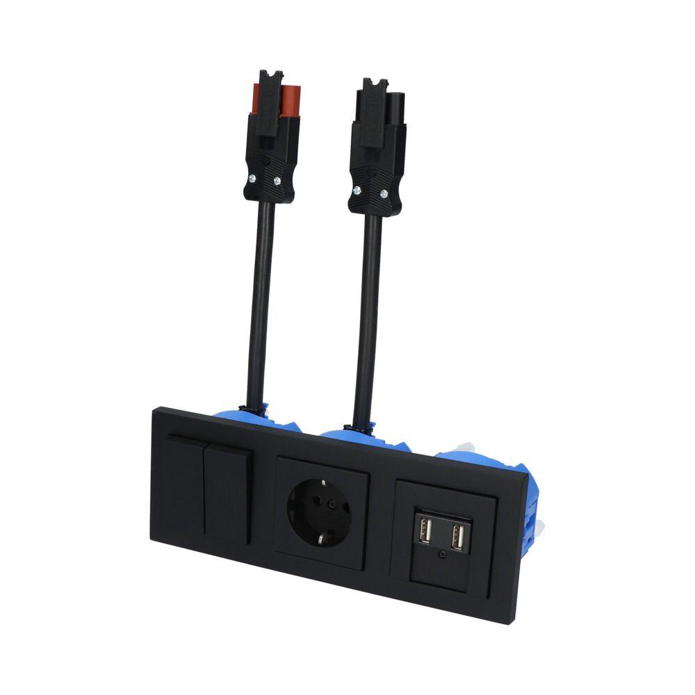 GIRA E2 Zwart Mat – SERIE 1V WCD 2V USB