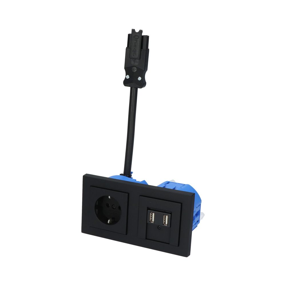 GIRA E2 Zwart Mat – 1V WCD 2V USB