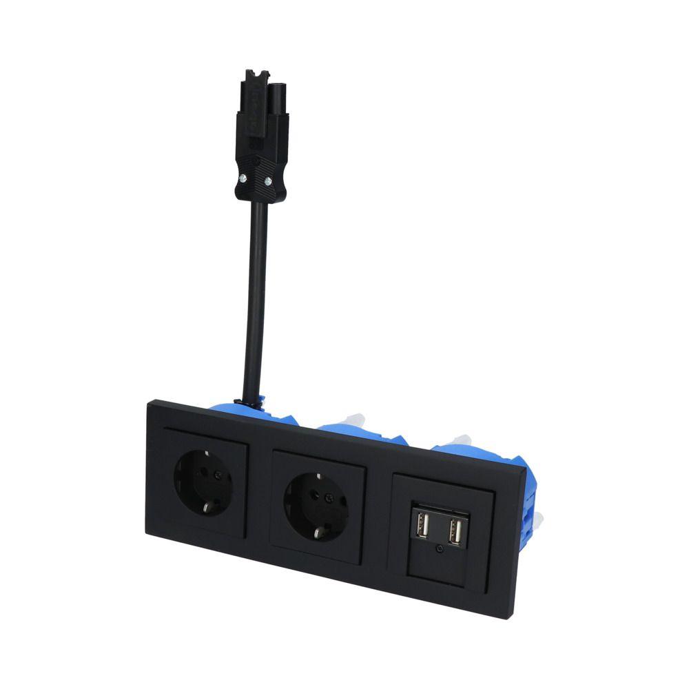 GIRA E2 Zwart Mat – 2V WCD 2V USB