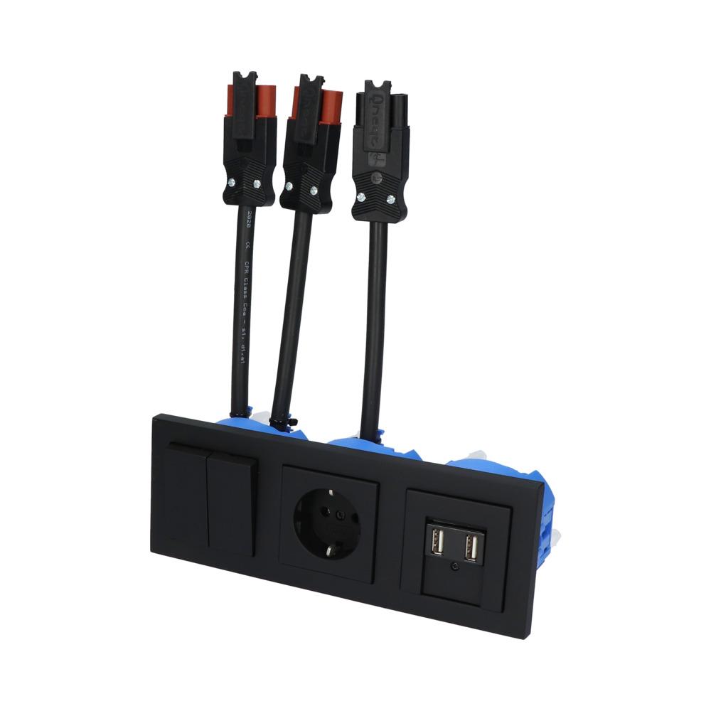 GIRA E2 Zwart Mat – WSS-WSS 1V WCD 2V USB