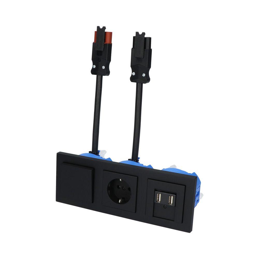 GIRA E2 Zwart Mat – WSS 1V WCD 2V USB