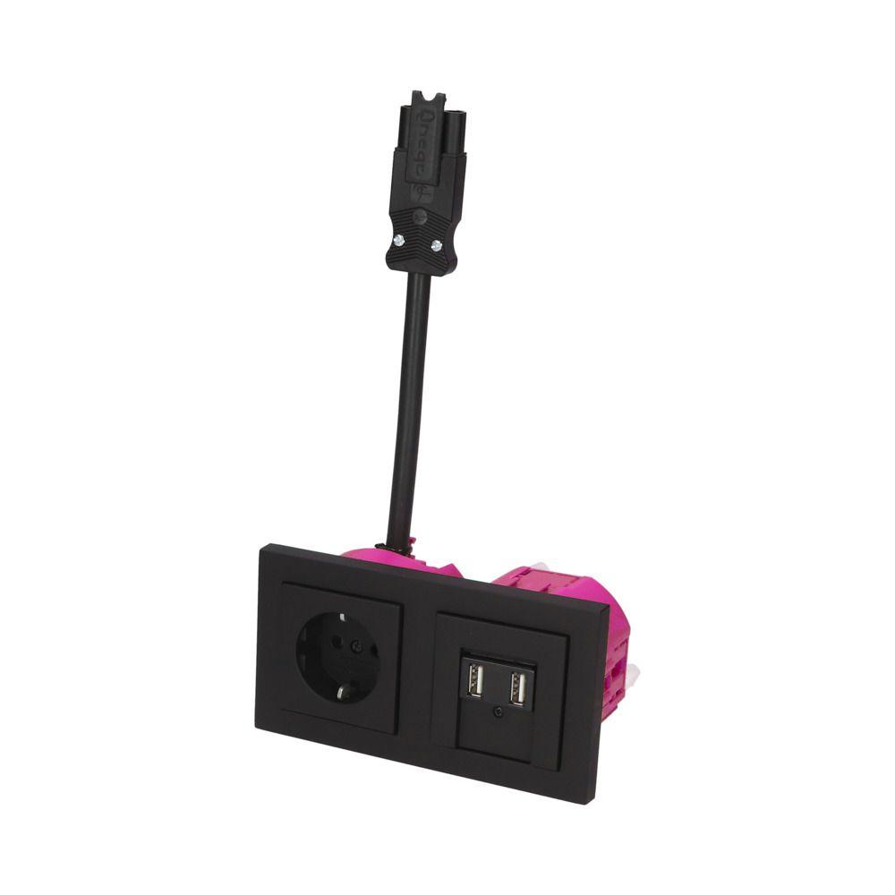 GIRA E2 Zwart Mat – 1V WCD 2V USB BW