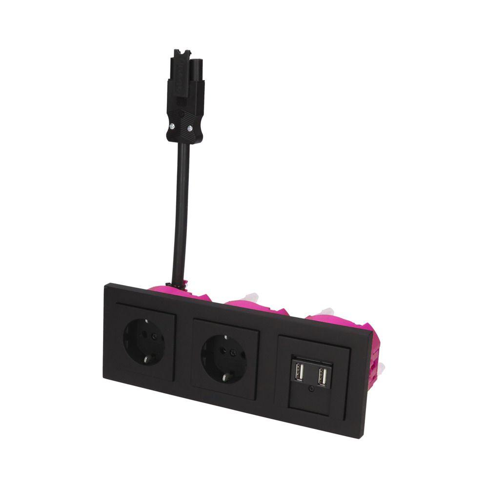 GIRA E2 Zwart Mat – 2V WCD 2V USB BW