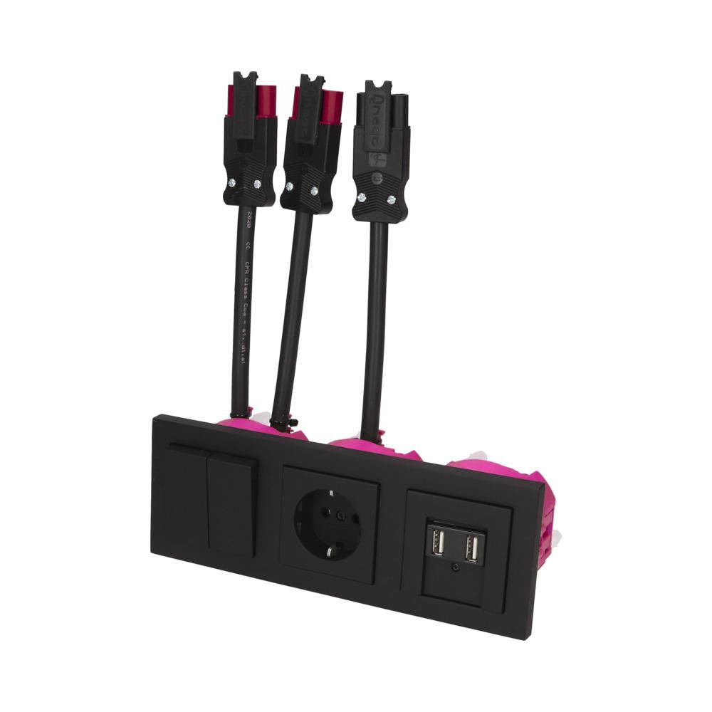 GIRA E2 Zwart Mat – WSS-WSS 1V WCD 2V USB BW