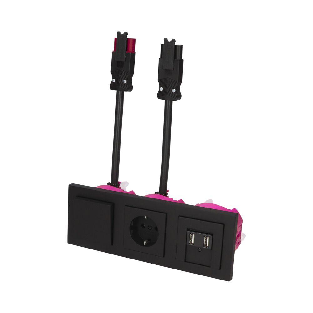 GIRA E2 Zwart Mat – WSS-WSS 1V WCD 2V USB KV