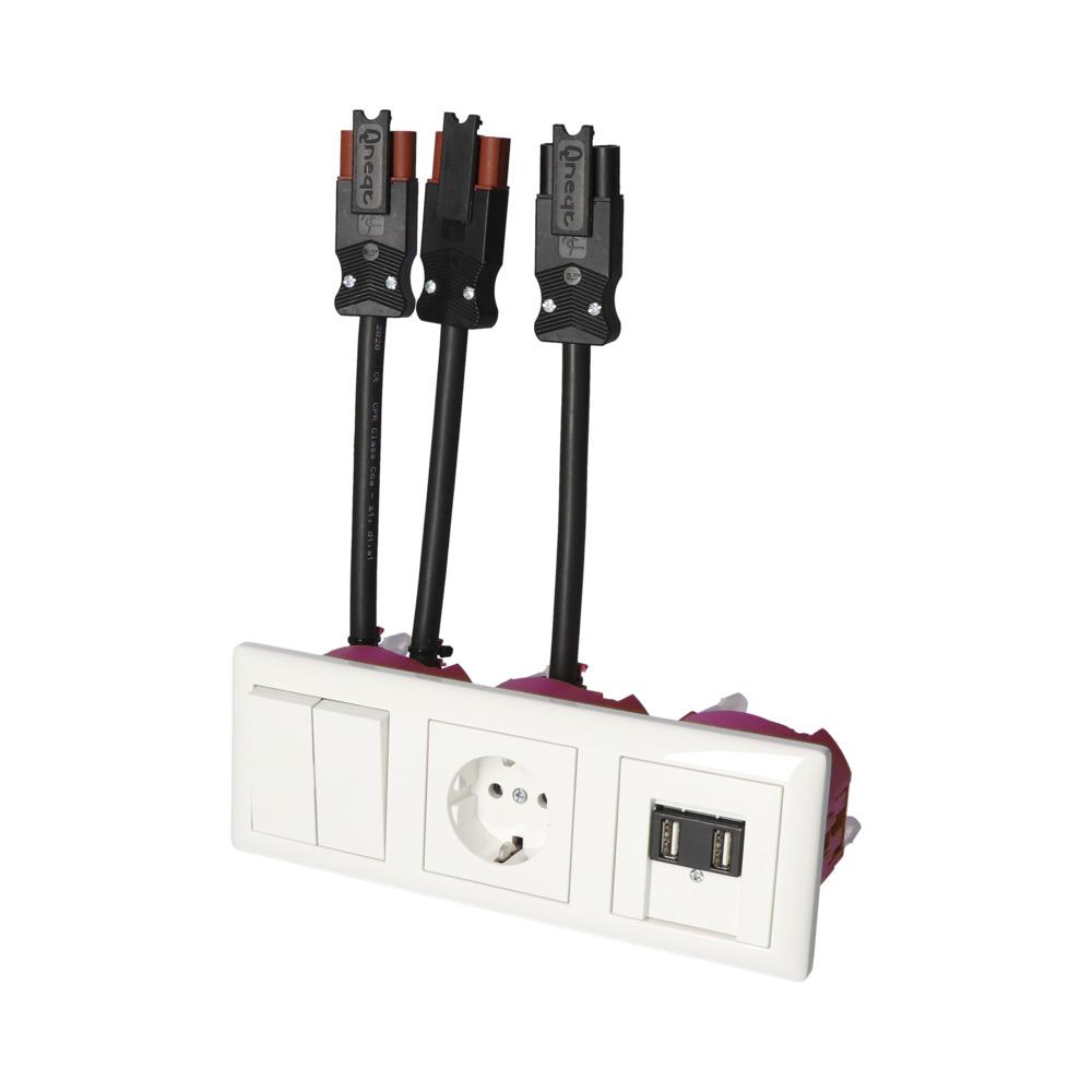 GIRA Standaard 55 Wit Glanzend – WSS-WSS 1V WCD 2V USB BW