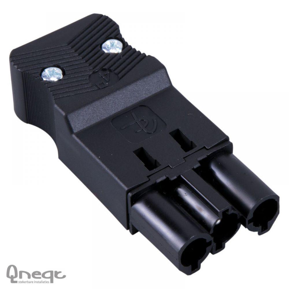 Qneqt steker 3-polig male plat zwart 4,0mm2