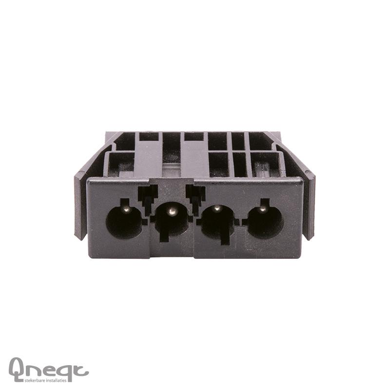 Qneqt chassisdeel 4-polig male zwart zonder vergr.