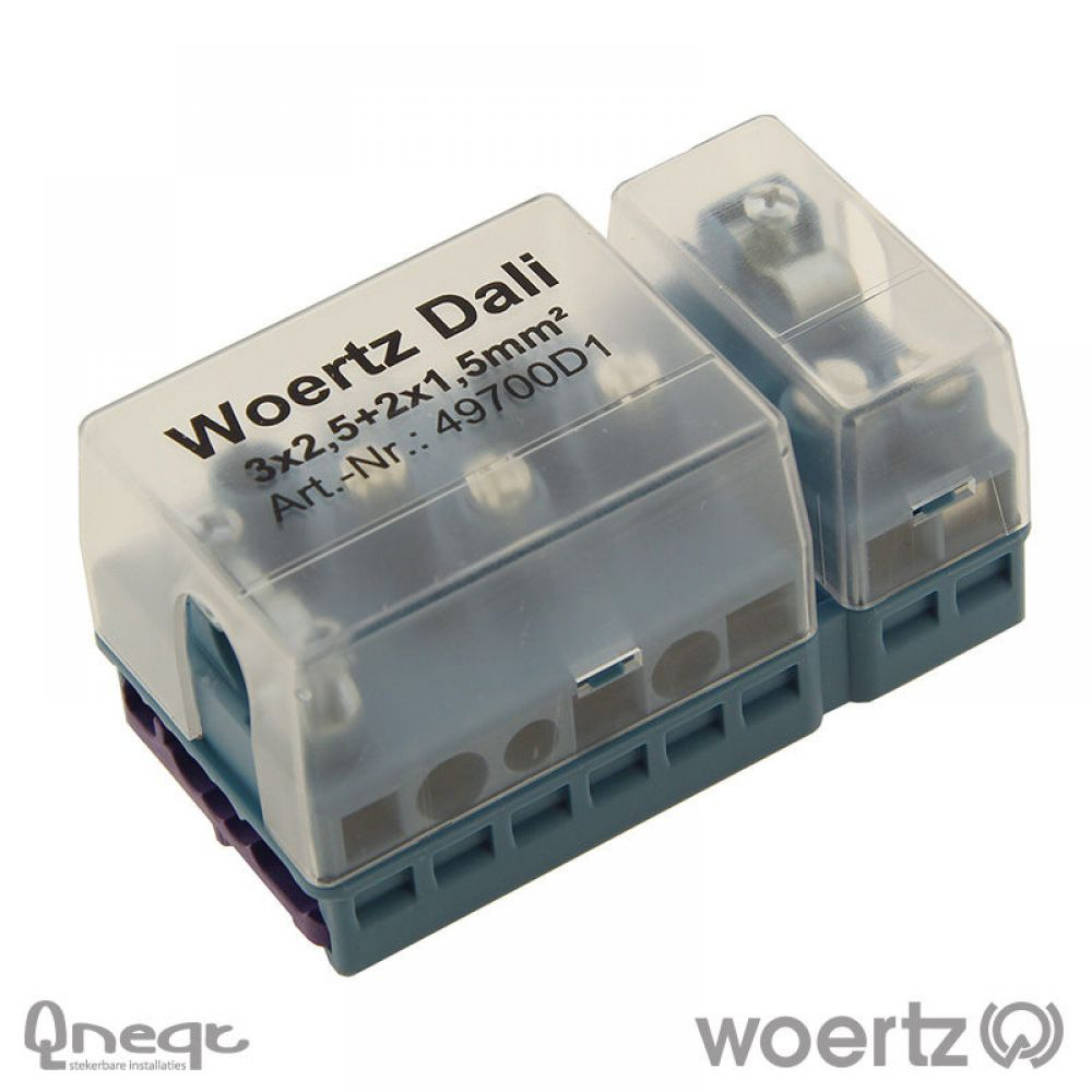 Woertz aansluitdoos voeding en bus voor DALI 3G2.5 + 2x1.5