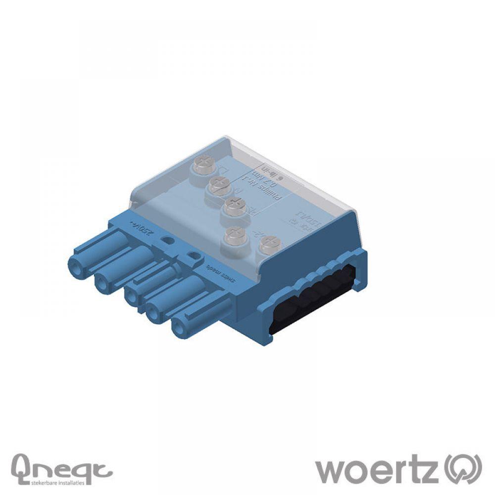 Woertz aftakking 5-polig pastelblauw voor DALI 3G2.5 + 2x1.5