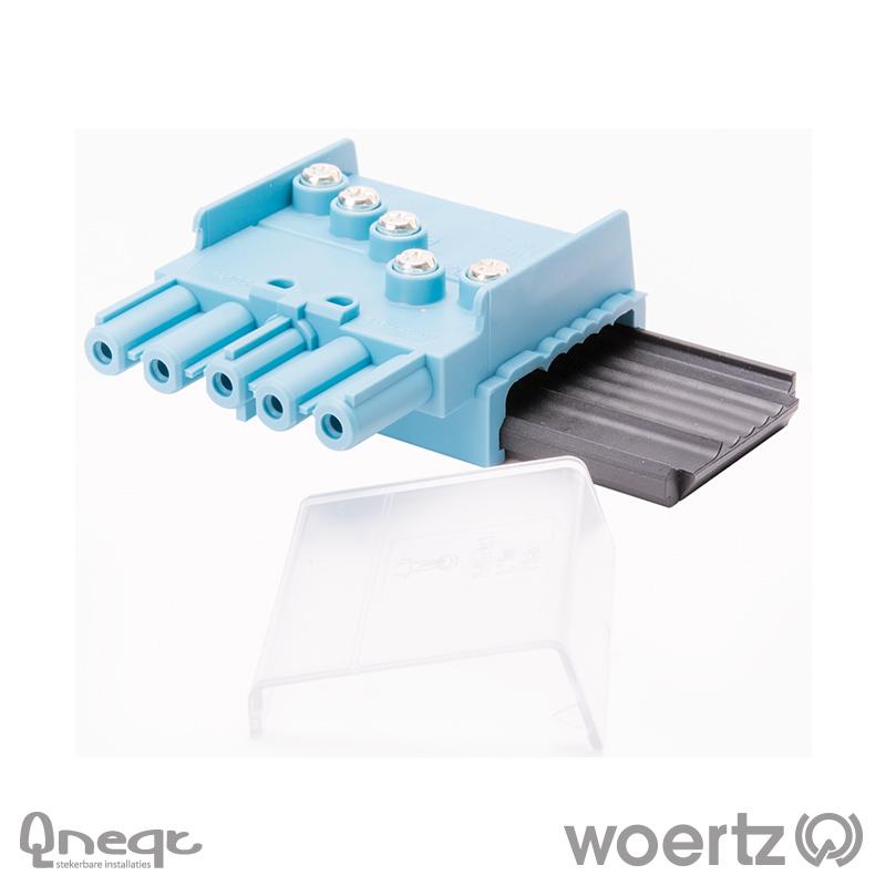 Woertz aftakking 5-polig L1 pastelblauw voor DALI kabel