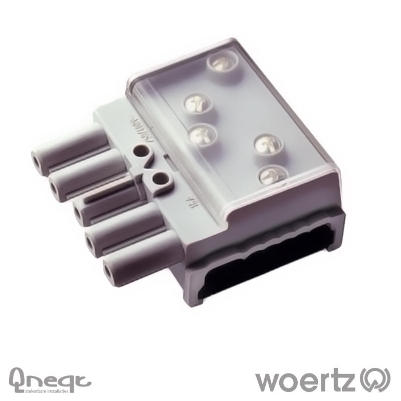 Woertz aftakking 5-polig zwart voor Combi kabel